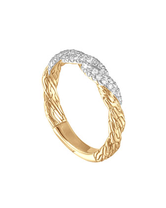 Classic Chain Twisted Flat 18k Diamond Band Ring, Size 6