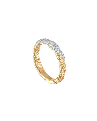 Classic Chain Twisted Flat 18k Diamond Band Ring, Size 7