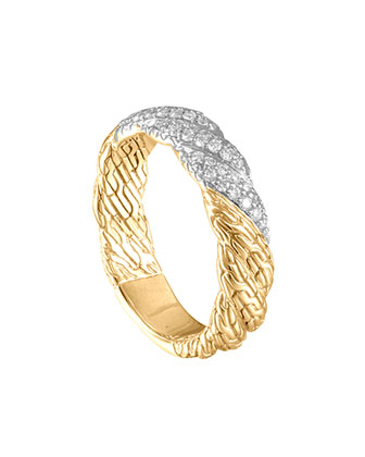 Classic Chain Twisted 18k Diamond Band Ring, Size 6
