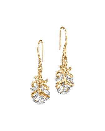 Classic Chain Small 18k Diamond Feather Earrings