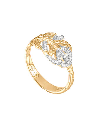 Classic Chain Small Feather 18k Diamond Ring, Size 6