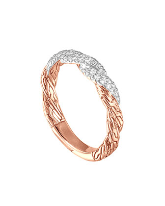 Classic Chain Twisted Rose Gold Diamond Band Ring, Size 6