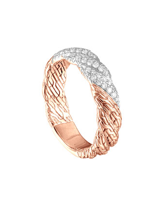 Classic Chain Rose Gold Diamond Ring, Size 6