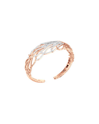 Classic Chain Rose Gold Diamond Feather Cuff