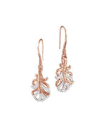 Classic Chain Small Rose Gold Diamond Feather Earrings
