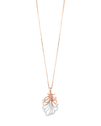 Rose Gold Medium Feather Pendant Necklace