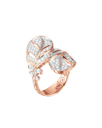 Classic Chain Feather Rose Gold Ring, Size 7
