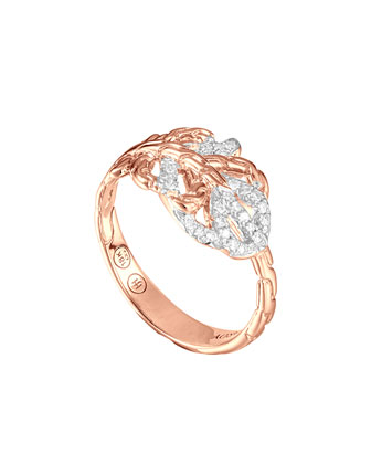 Classic Chain Small Feather Rose Gold Ring, Size 6