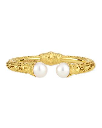 Flamenco 18k Gold Filigree Pearl-Tip Hinge Bracelet