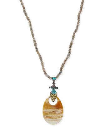 Garden of Spring and Summer Labradorite & Horn Necklace