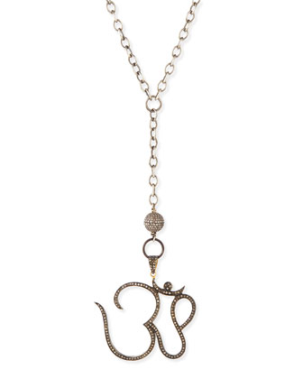 Silver Pave Diamond Ohm Pendant Necklace, 44