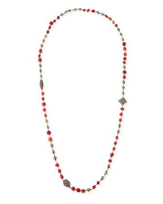Coral, Pyrite & Pave Diamond Necklace, 40