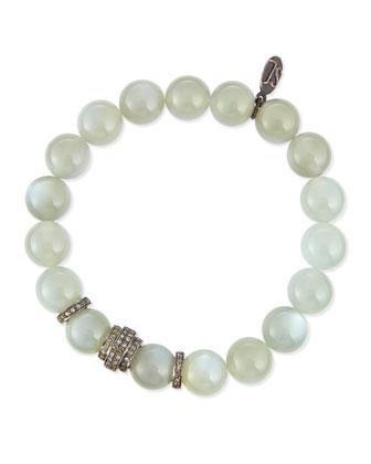 Moonstone & Pave Diamond Bracelet, 3.1ct.