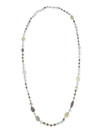 Aquamarine, Pyrite & Pave Diamond Necklace, 40