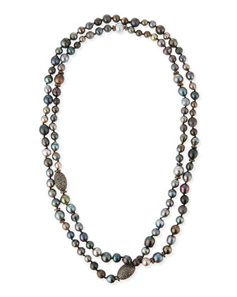 Tahitian Pearl & Pave Diamond Long Necklace, 48