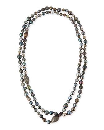 Tahitian Pearl & Pave Diamond Long Necklace, 48