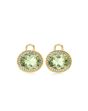 Oval Green Amethyst & Diamond Earring Drops, 18k Yellow Gold