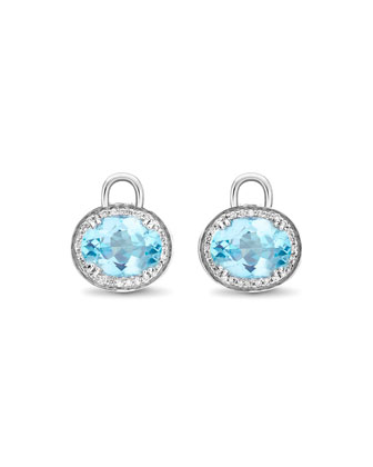 Oval Blue Topaz & Diamond Earring Drops, 18k White Gold