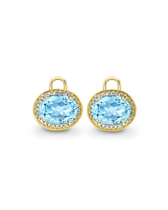 Oval Blue Topaz & Diamond Earring Drops, 18k Yellow Gold