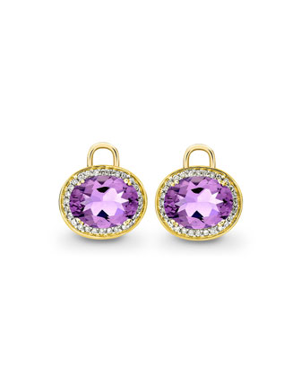Oval Amethyst & Diamond Earring Drops, 18k Yellow Gold