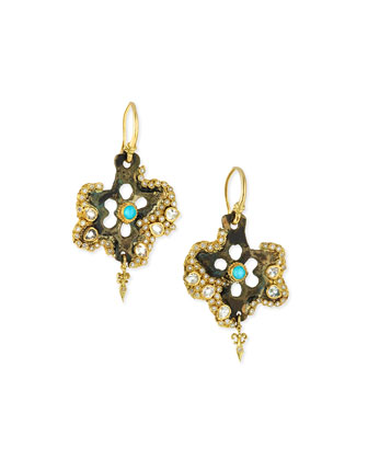 Sueno Star Blue Turquoise and Rainbow Moonstone Doublet Artifact Earrings