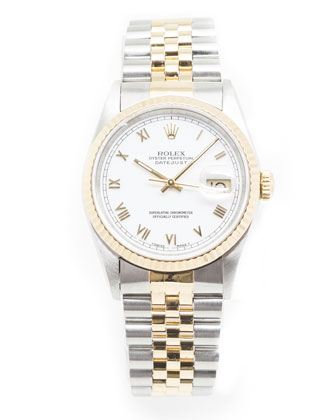 Classic Rolex DateJust Stainless & 18k Gold Watch