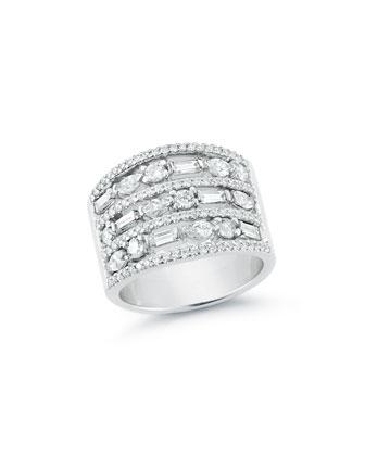 Mixed Cut Diamond Wide Band Ring, Size 7