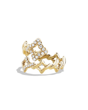 Venetian Quatrefoil Ring with Diamonds in Gold, Size 7