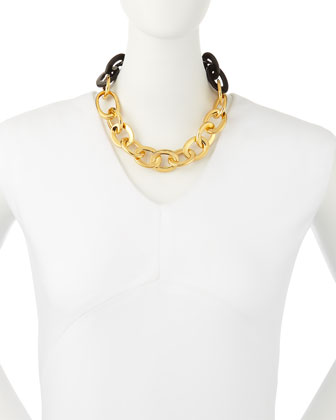 18k Yellow Gold & Black Horn Link Necklace