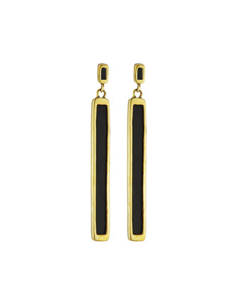 Rectangular Black Horn Earrings