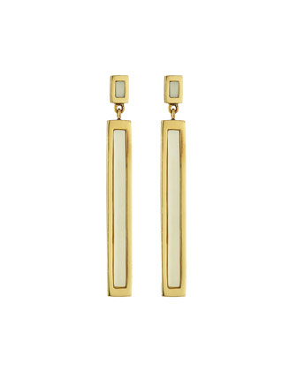 Rectangular White Horn Earrings