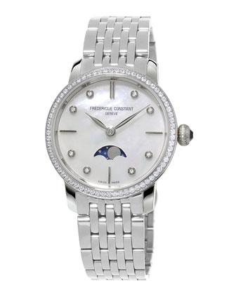 Ladies' Slimline Moonphase Stainless Diamond Watch