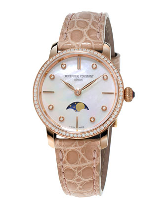 Ladies' Slimline Moonphase Rose Gold Diamond Watch