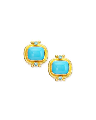 19k Turquoise Cabochon Clip/Post Earrings
