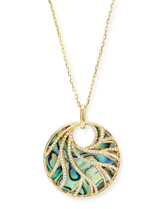 Venus Abalone & Diamond Swirl Pendant Necklace