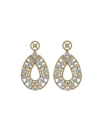Moonstone & Diamond Pear Drop Earrings