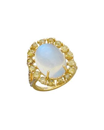 Rainbow Moonstone & Diamond Oval Ring, Size 7