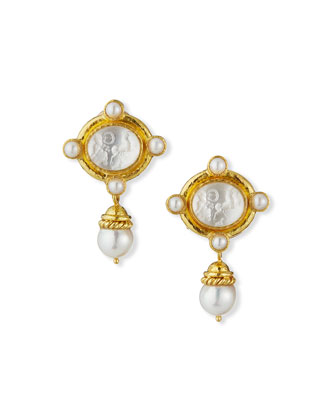 Cabochon Quadriga Pearl Drop Earrings