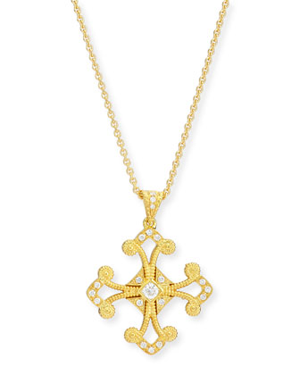Aegean Diamond Cross Pendant Necklace