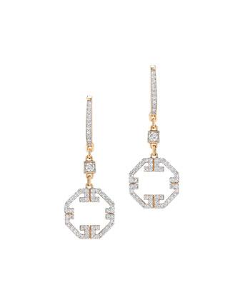 Metropolis Octagonal Diamond Drop Earrings