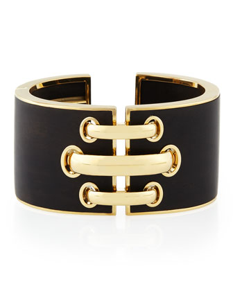 18k Gold Ebony Shoelace Cuff Bracelet