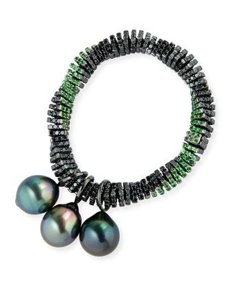 Black Diamond Twist Bracelet with Tahitian Pearls