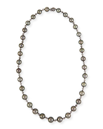 Black Gold Tahitian Pearl Necklace with Diamonds, 28.5