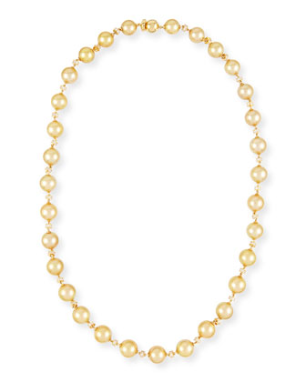 Yellow Gold Pearl Necklace with Diamonds, 25