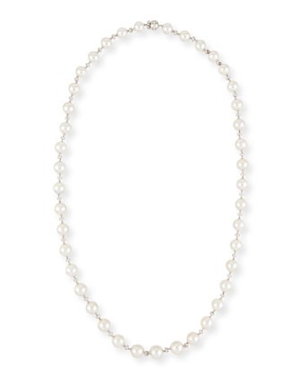 White Gold Pearl Necklace with Diamonds, 34