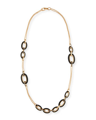 Tango 18k Rose Gold Black Diamond Link Necklace
