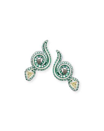Snake Earrings with Yellow Diamonds