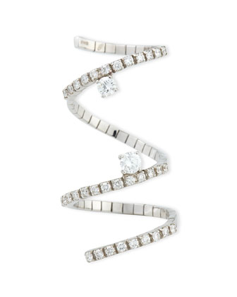 18k White Gold Diamond Snake Ring