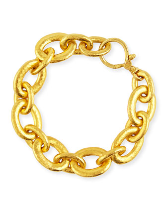 24k Galahad Mixed-Sized Oval Link Bracelet