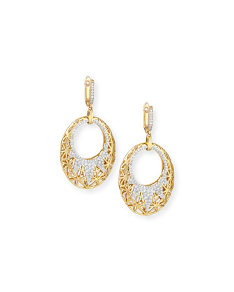 18k Oval Drop Earrings with Diamonds